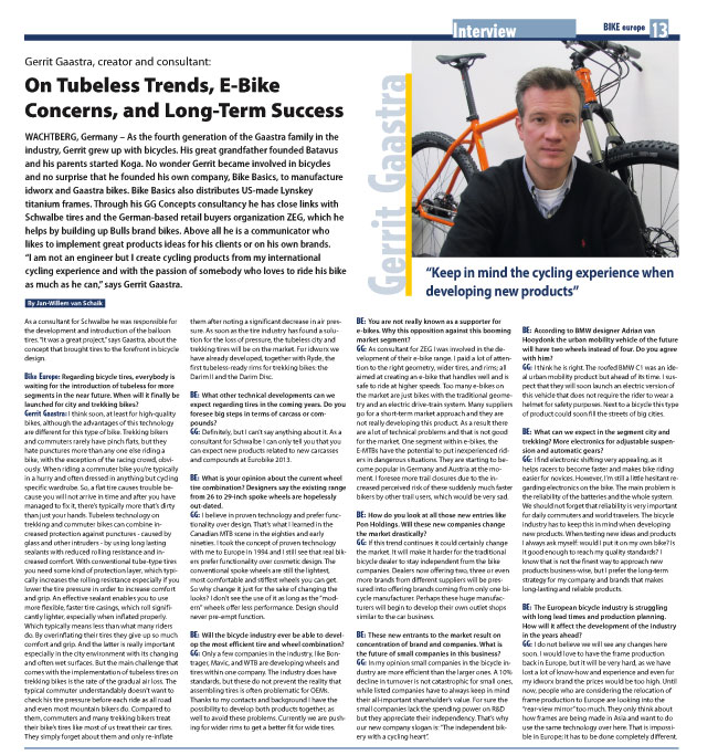 Interview Gerrit Gaastra, creator and consultant: On Tubeless Trends, E-Bike Concerns, and Long-Term Success