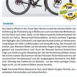 """Test idworx oPinion 'travel spec': <br />""""Vergleichstest Pinionräder – Bestes Rad nach Punkten"""" – Testnote: 0,9"""