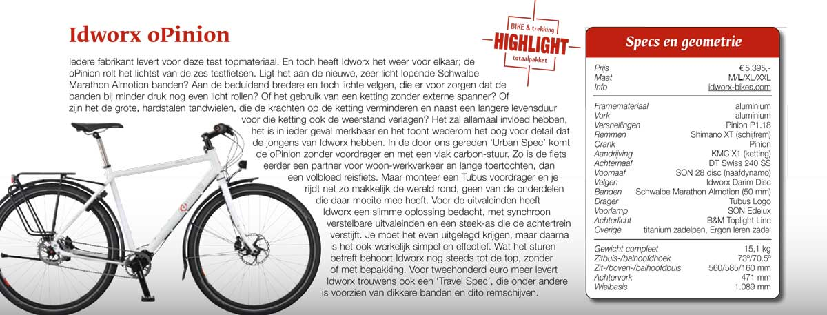 """Test idworx oPinion 'urban spec': <br />""""Bike & Trekking Highlight"""""""