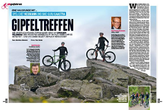 """Test idworx Rock oPionion Ti 'power spec' / Rockn Rohler 'power spec': <br />""""Gipfeltreffen: Eine Hausrunde mit … Opel-Chef Neumann und Bike-Guru Gaastra"""""""